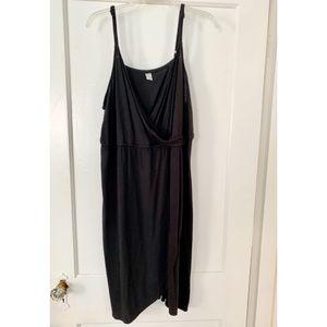 Black jersey faux wrap dress